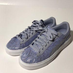 Puma Shoes - Puma Basket Platform FO Floral Lace Sneakers 10